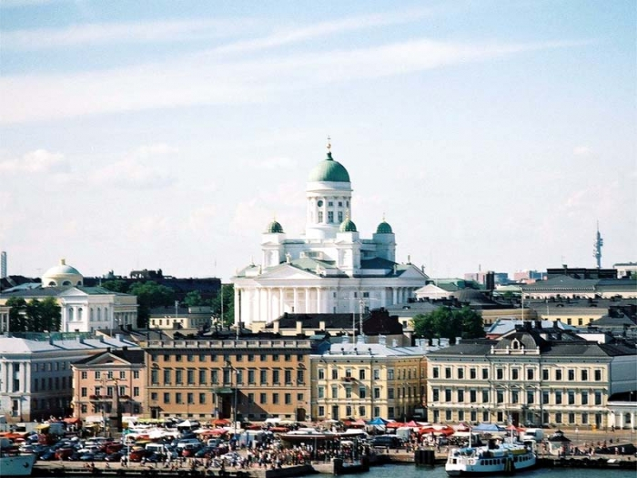 Helsinki seaside picture with cathedral